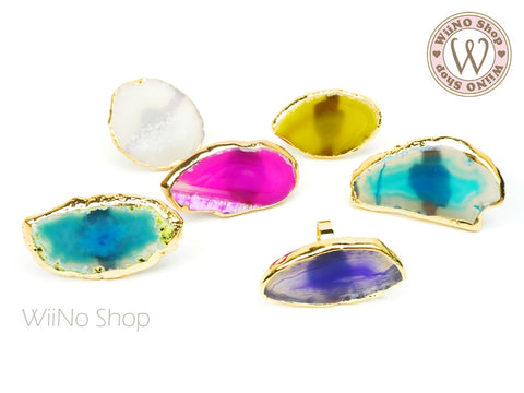 Natural Agate Sliced Nail Art Palette Ring