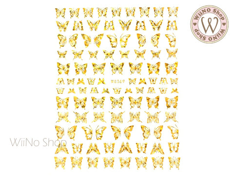 Gold Holographic Butterfly Adhesive Nail Art Sticker - 1 pc (WG369-GH)
