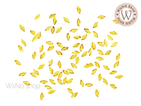 Gold Falcate Leaf Metal Studs - 10 pcs