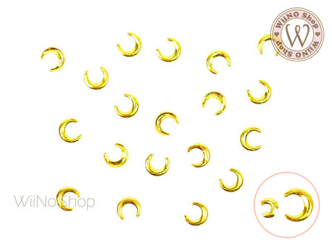 Gold Moon Metal Studs - 10 pcs (2x3mm/4x5mm)