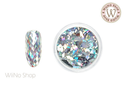 2 x 3mm Silver Holographic Diamond Shape Glitter (DM07)