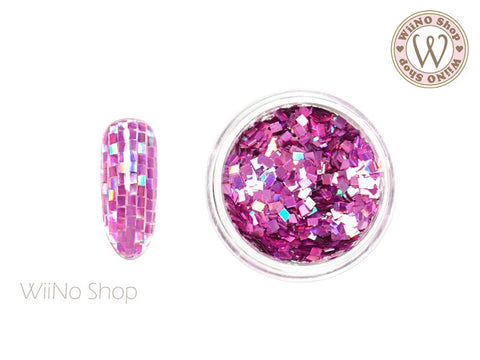 2mm Magenta Pink Holographic Square Glitter (SQ04)