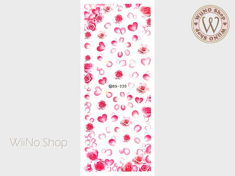 Pink Rose Petals Water Slide Nail Art Decals - 1 pc (DS-220)