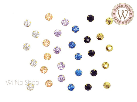 5mm Round Crystal with Setting - 5 pcs