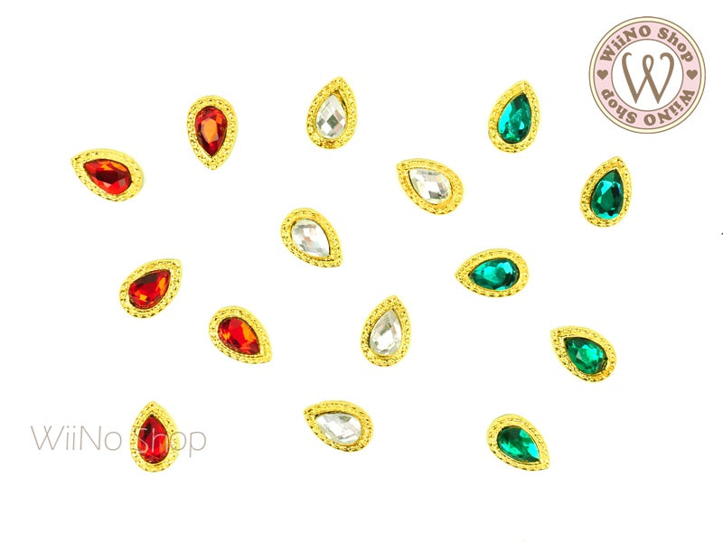 [Christmas Limited 1] Mixed Color Crystal Nail Metal Charm - 3 pcs