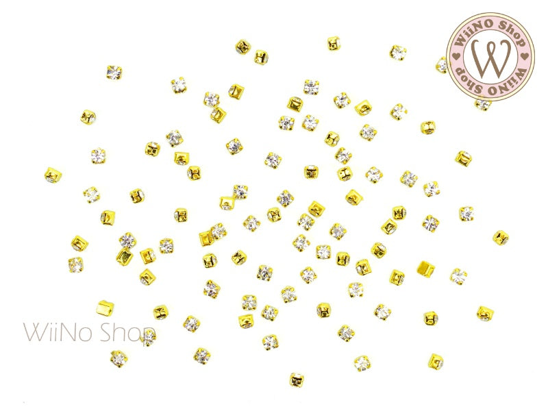 2mm Clear Crystal with Square Setting - 20 pcs