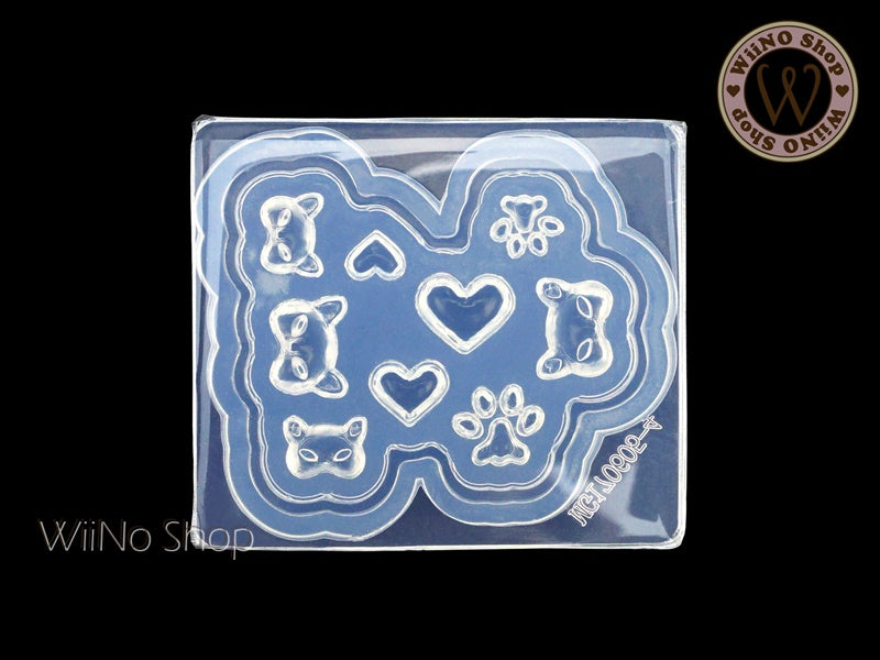Cat Mask & Paws 3D Nail Art Mold - 1 pc