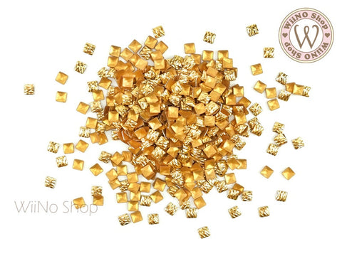 3mm Gold Crisscross Square Metal Studs - 50 pcs