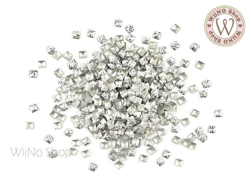 3mm Silver Crisscross Square Metal Studs - 50 pcs