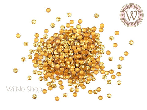 3mm Gold Crisscross Round Metal Studs - 50 pcs