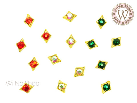 [Christmas Limited 2] Mixed Color Crystal Nail Metal Charm - 3 pcs