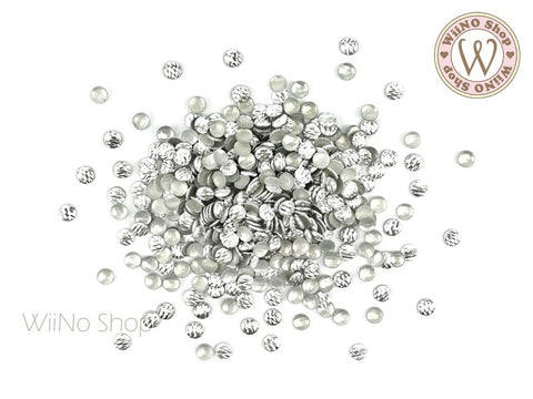 3mm Silver Crisscross Round Metal Studs - 50 pcs
