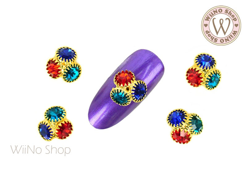 Colorful Crystal Cluster Nail Metal Charm - 2 pcs