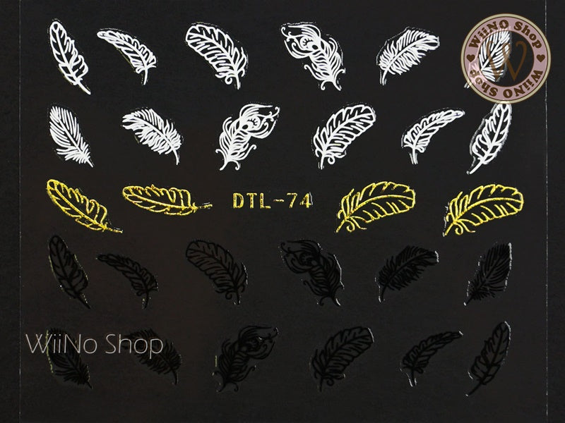 Gold Black White Feather Nail Art Sticker - 1 pc (DTL-74G)