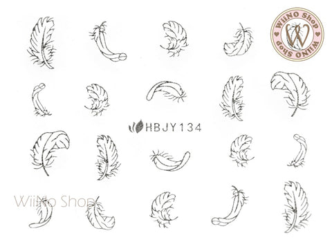 HBJY134 Silver Feather Nail Art Sticker - 1 pc