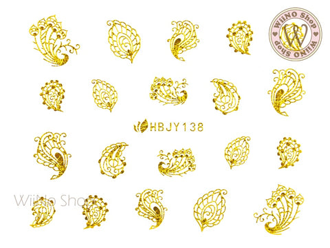 HBJY138 Gold Peacock Feather Nail Art Sticker - 1 pc