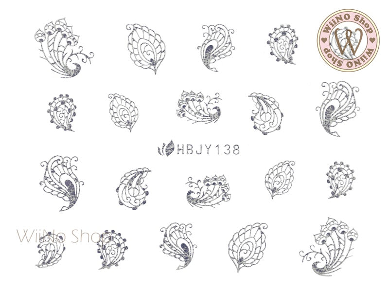 HBJY138 Silver Peacock Feather Nail Art Sticker - 1 pc