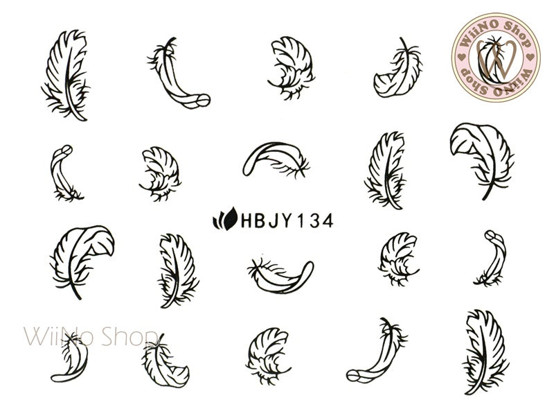 HBJY134 Black Feather Nail Art Sticker - 1 pc