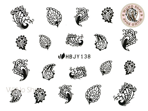 HBJY138 Black Peacock Feather Nail Art Sticker - 1 pc