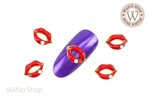 Red Lips Nail Metal Charm - 2 pcs