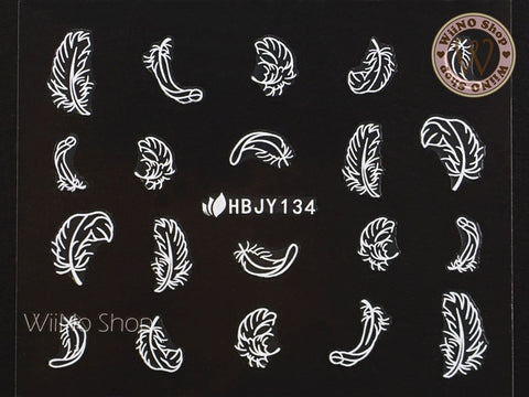 HBJY134 White Feather Nail Art Sticker - 1 pc