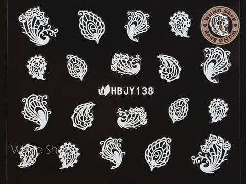 HBJY138 White Peacock Feather Nail Art Sticker - 1 pc