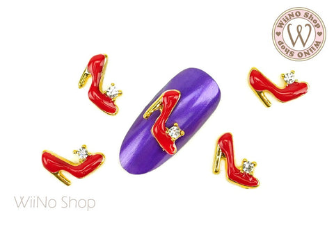 Red Heels Nail Metal Charm - 2 pcs