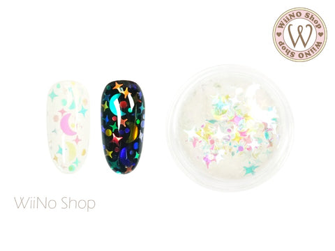 Rainbow Clear Moon Cross Star Dots Mixed Glitter (FM02)