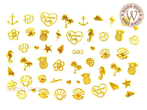 Gold Summer Time Adhesive Nail Art Sticker - 1 pc (G-92)