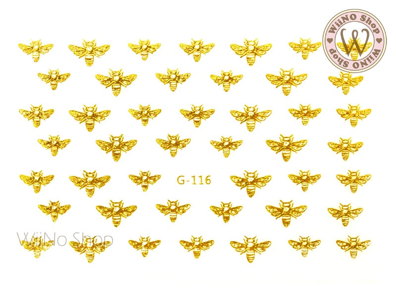 Gold Bee Adhesive Nail Art Sticker - 1 pc (G-116)