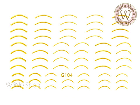 Gold Curve Line Adhesive Nail Art Sticker - 1 pc (G-104)
