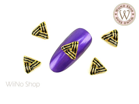 Black Triangular Nail Metal Charm - 2 pcs