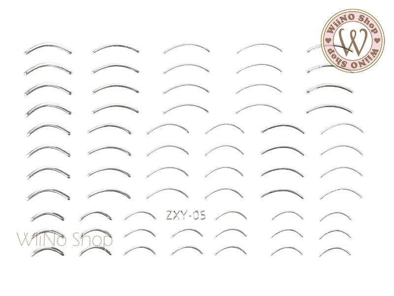 Silver Curve Line Adhesive Nail Art Sticker - 1 pc (ZXY-05)