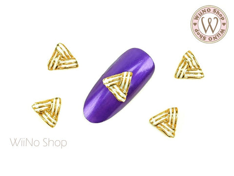 White Triangular Nail Metal Charm - 2 pcs