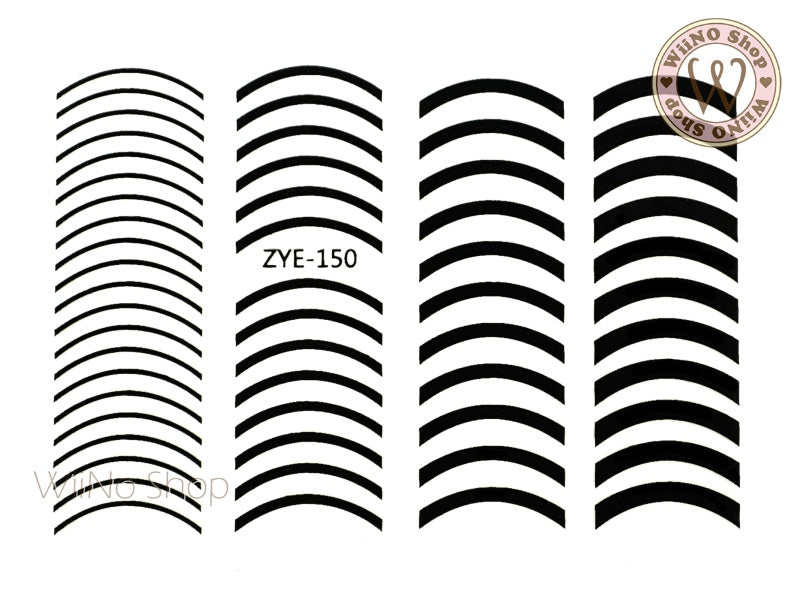 Black Curve Line Adhesive Nail Art Sticker - 1 pc (ZYE-150)