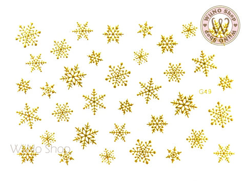 Gold Snowflake Adhesive Nail Art Sticker - 1 pc (G-49)