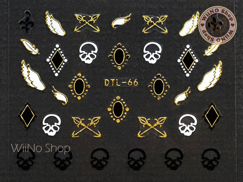 Gold Skull Wing Nail Art Sticker - 1 pc (DTL-66G)