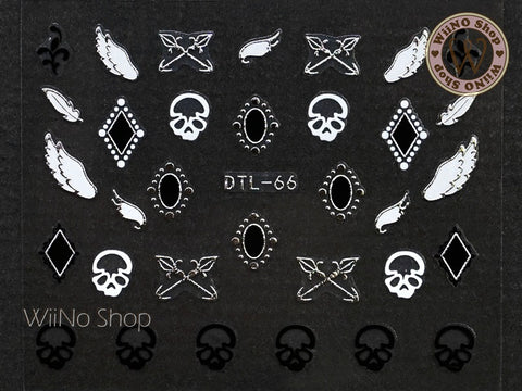 Silver Skull Wing Nail Art Sticker - 1 pc (DTL-66S)