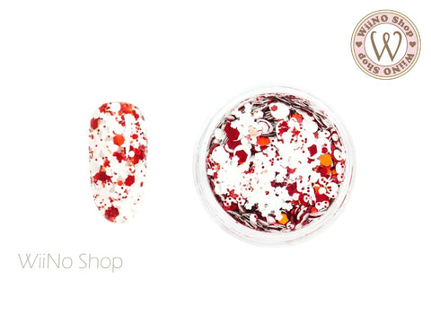 White Snowflake Red Holographic Hexagon Mixed Glitter (XS04)