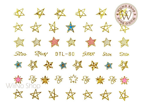 Gold Star Nail Art Sticker - 1 pc (DTL-80G)