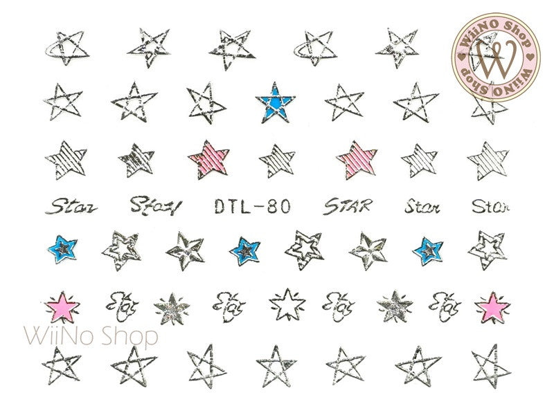 Silver Star Nail Art Sticker - 1 pc (DTL-80S)