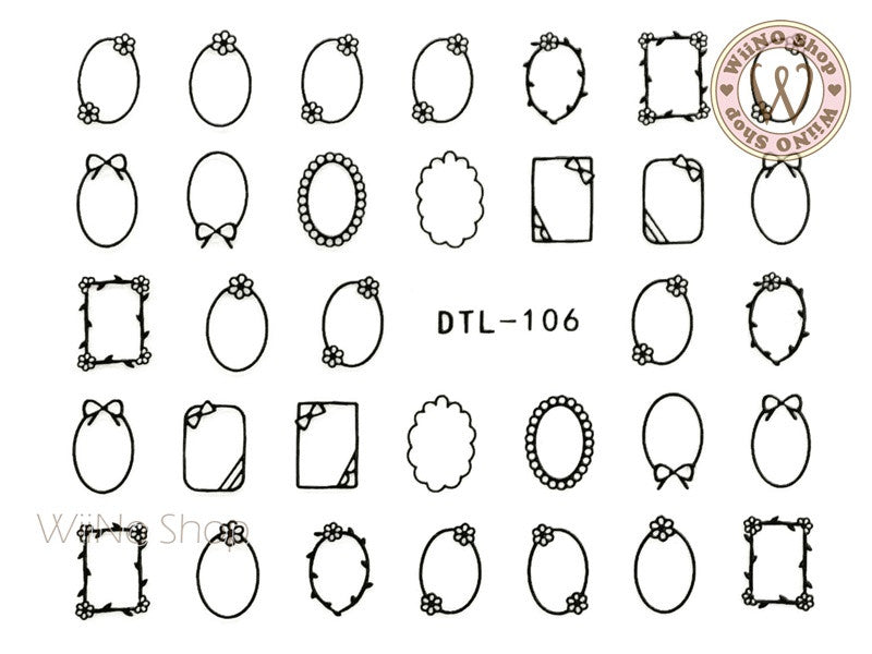 Black Cute Frame Nail Art Sticker - 1 pc (DTL-106B)