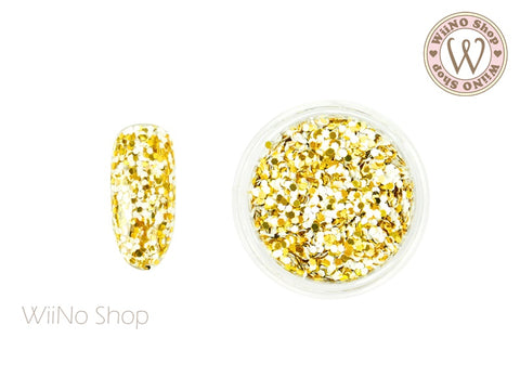 HB01 Gold White Hexagon Glitter