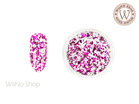 HB03 Fuchsia White Hexagon Glitter