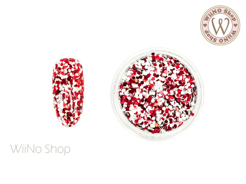HB04 Red White Hexagon Glitter