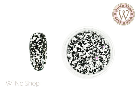 HB06 Black White Hexagon Glitter