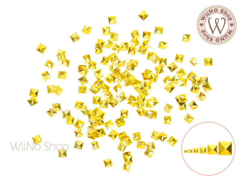 Gold Square Pyramid Metal Studs - 25 pcs (1/1.2/1.5/2/3/4mm)