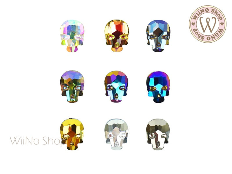 6 x 8mm Skull Flat Back Crystal - 2 pcs