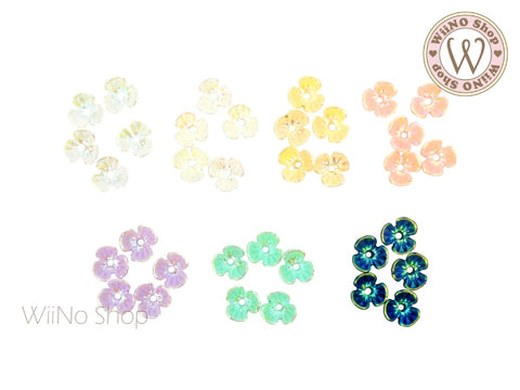 Iridescent Three Petal Flower Nail Art Cabochons - 5 pcs