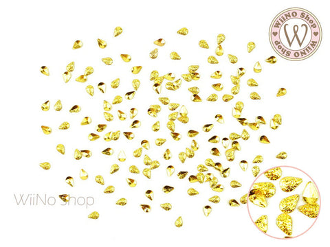 2 x 3mm Gold Textured Drop Metal Studs - 25 pcs